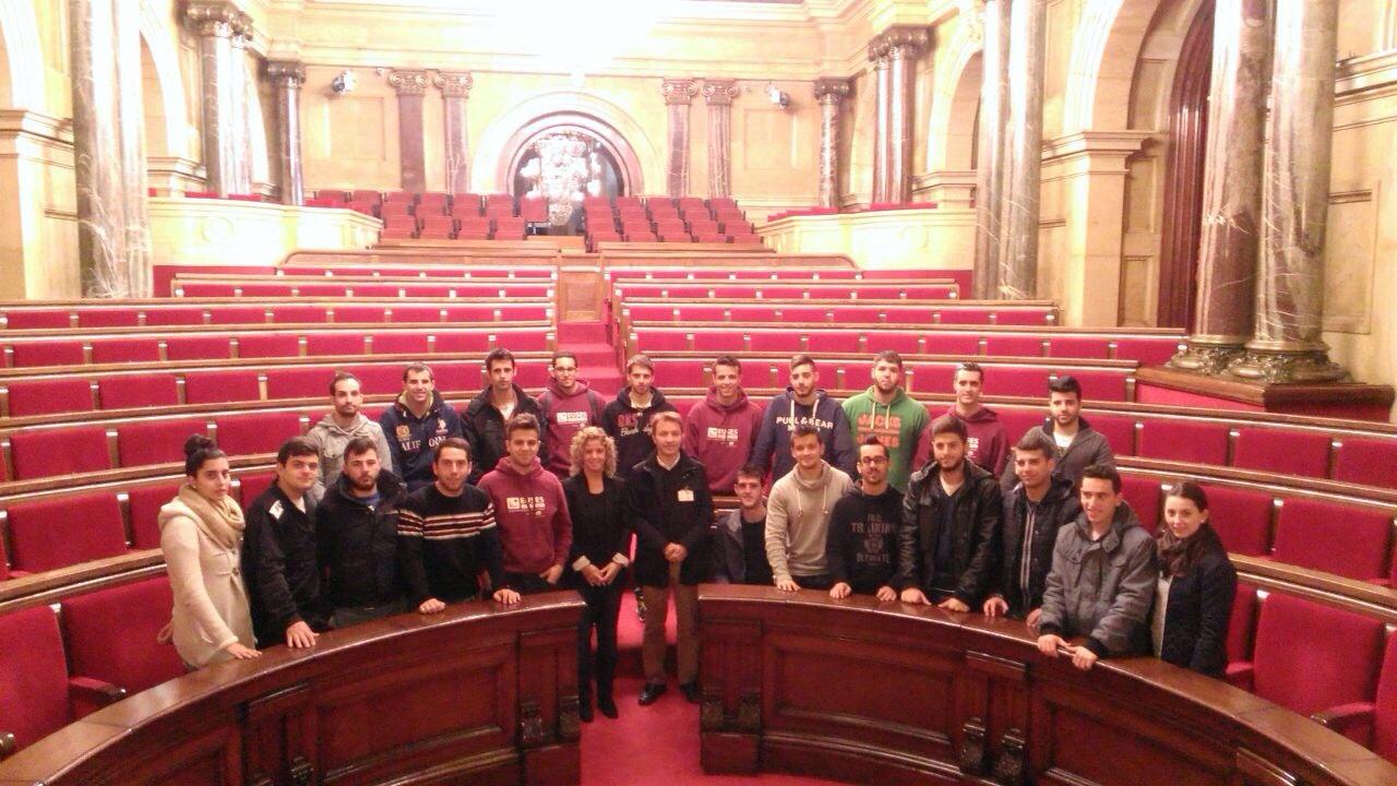 Els alumnes de 2n de CAFE d'EUSES Terres de l'Ebre-URV visiten el Parlament