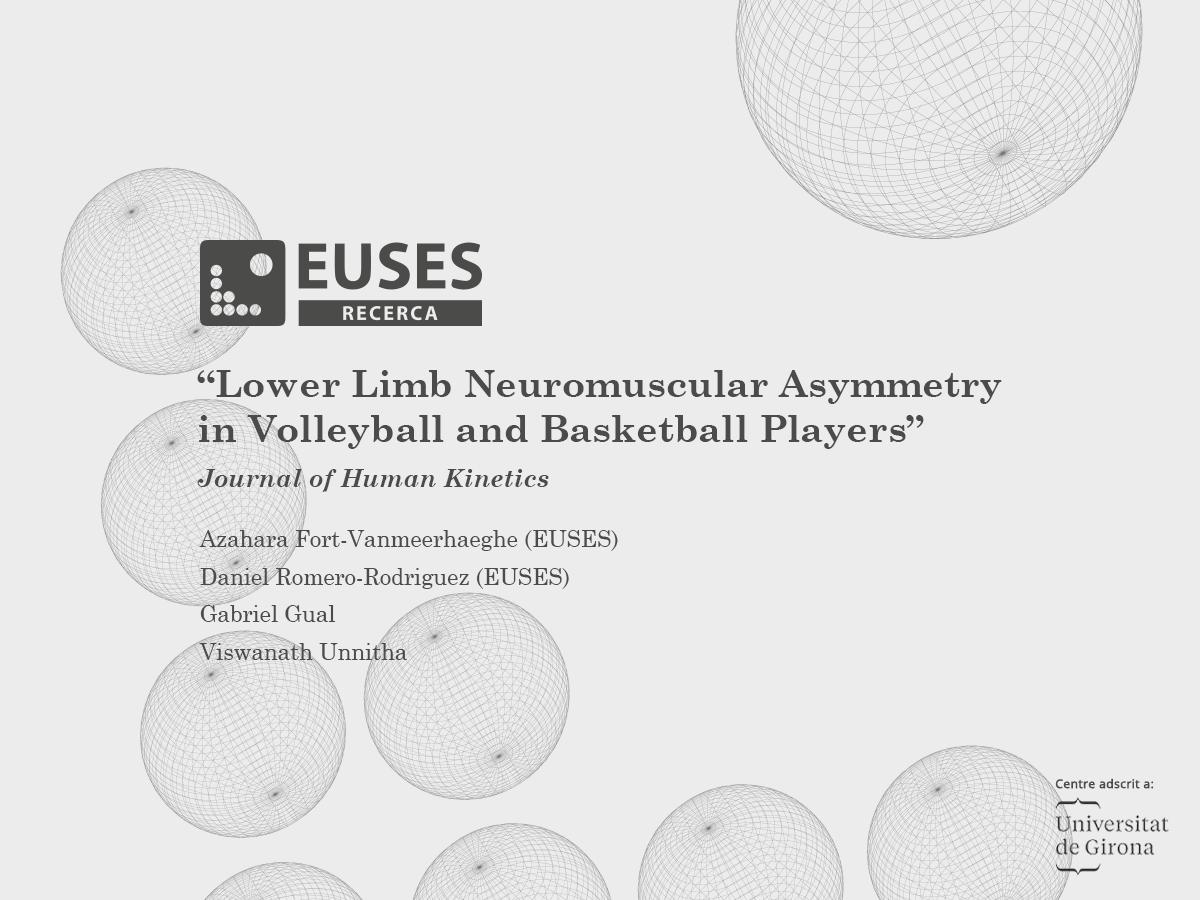 Un estudi en el qual han participat dos professors d'EUSES mostra l'existència d'asimetria muscular de les extremitats inferiors en jugadors de voleibol i bàsquet