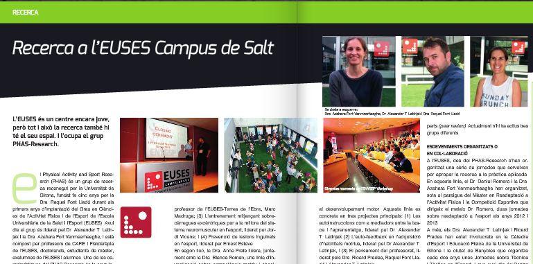 El grup de recerca d'EUSES apareix a Docusport, la revista del Col•legi de Llicenciats en Ciències de l'Activitat Física i l'Esport