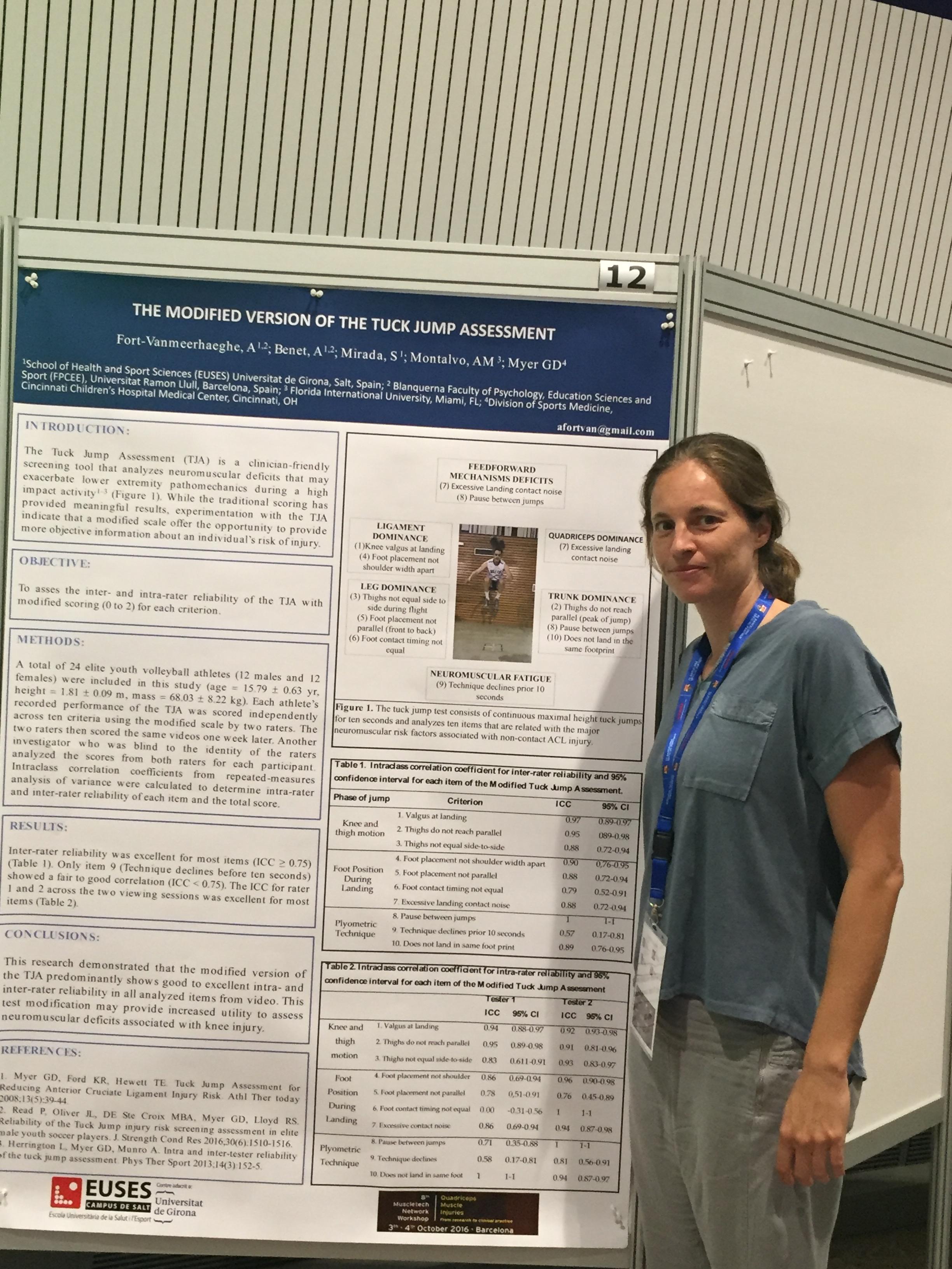 La Dra. Azahara Fort, professora dels graus en CAFE i en Fisioteràpia a EUSES, presenta un pòster en el 8è Muscletech network Workshop