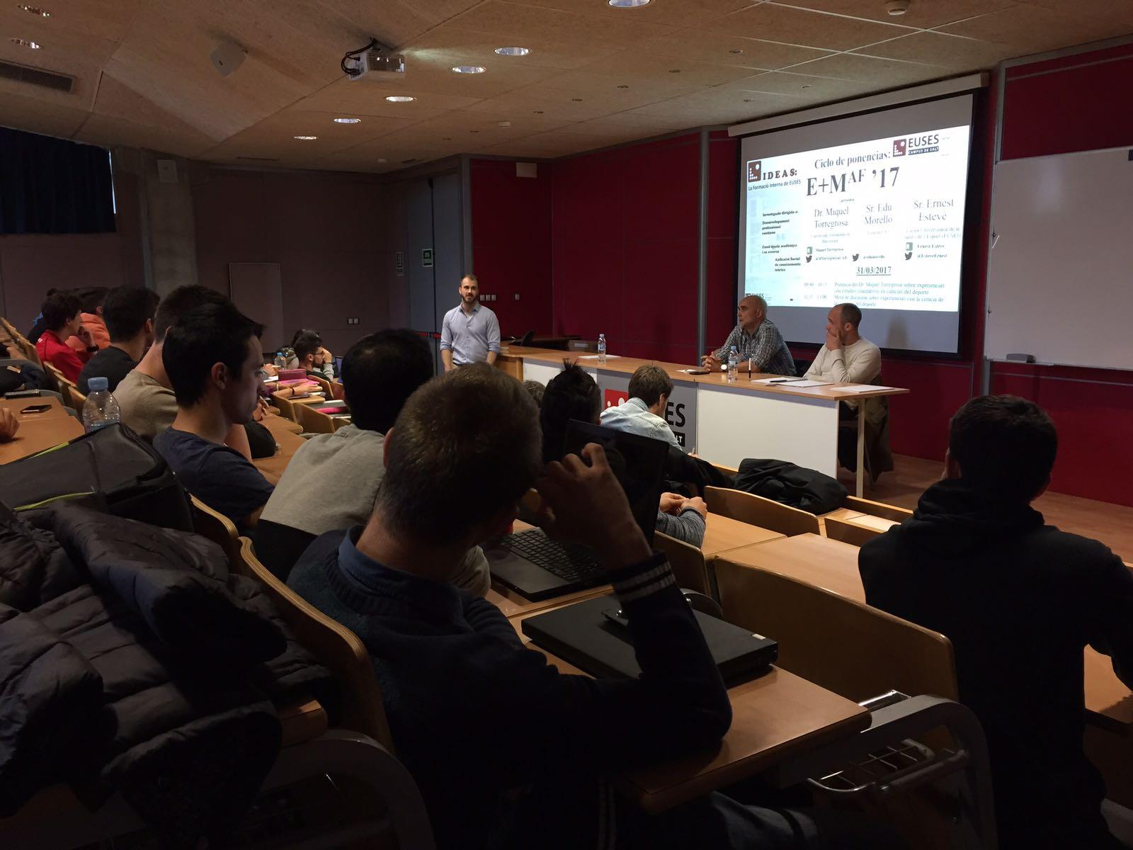 Segona jornada del cicle de ponències E+MAG'17 per als alumnes de 2n curs del Grau en CAFE d'EUSES-UdG