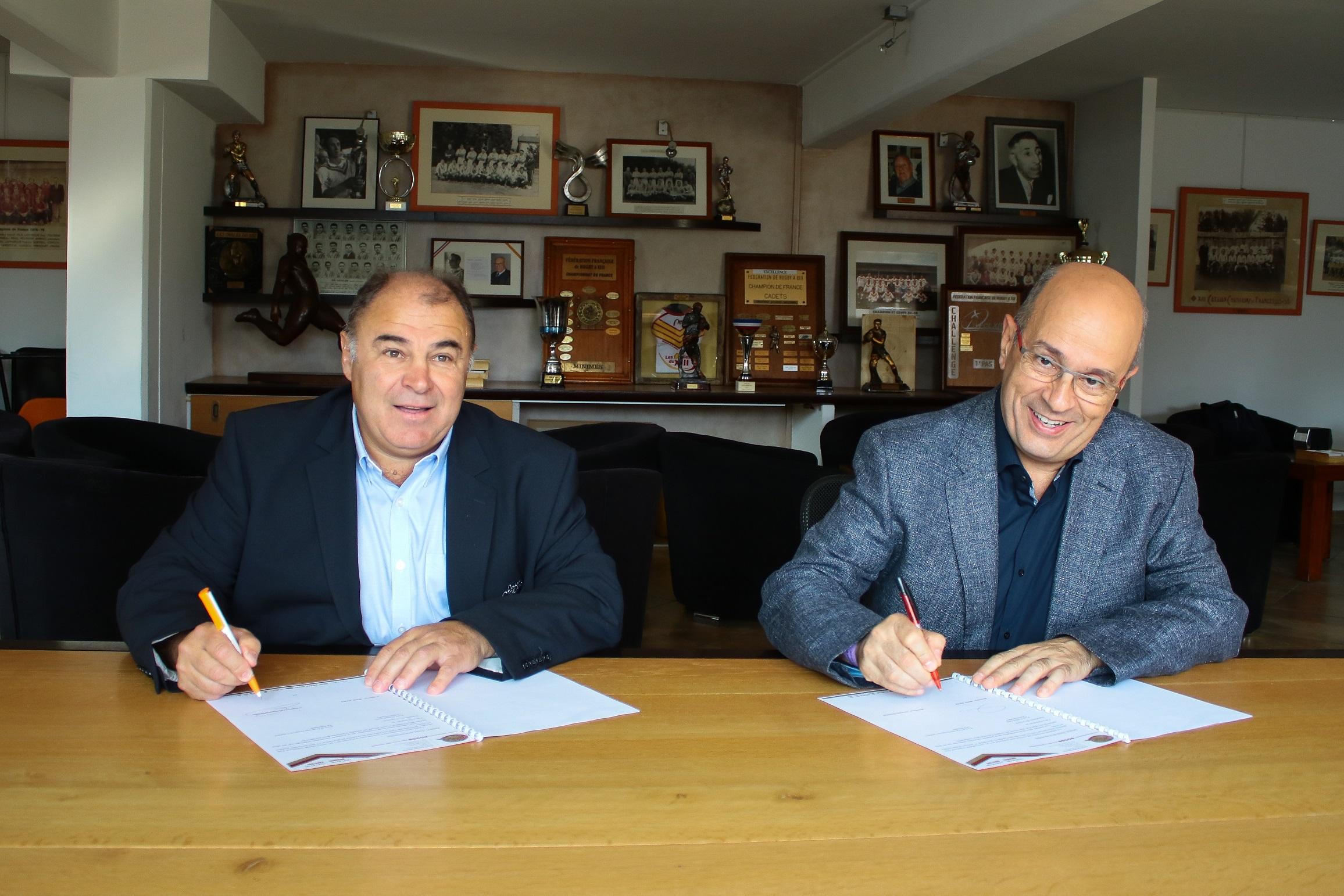 L'Escola Universitària de la Salut i l'Esport i els Dragons Catalans de Perpinyà signen un conveni de col·laboració