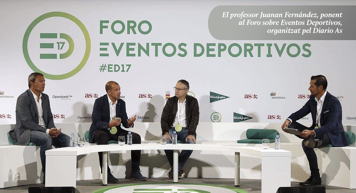 Participació del professor del Grau en CAFE i responsable de Challenge Espanya, Juanan Fernández a la taula rodona: 'Triatló, l'esport del segle XXI' al Fòrum sobre Esdeveniments Esportius de Madrid