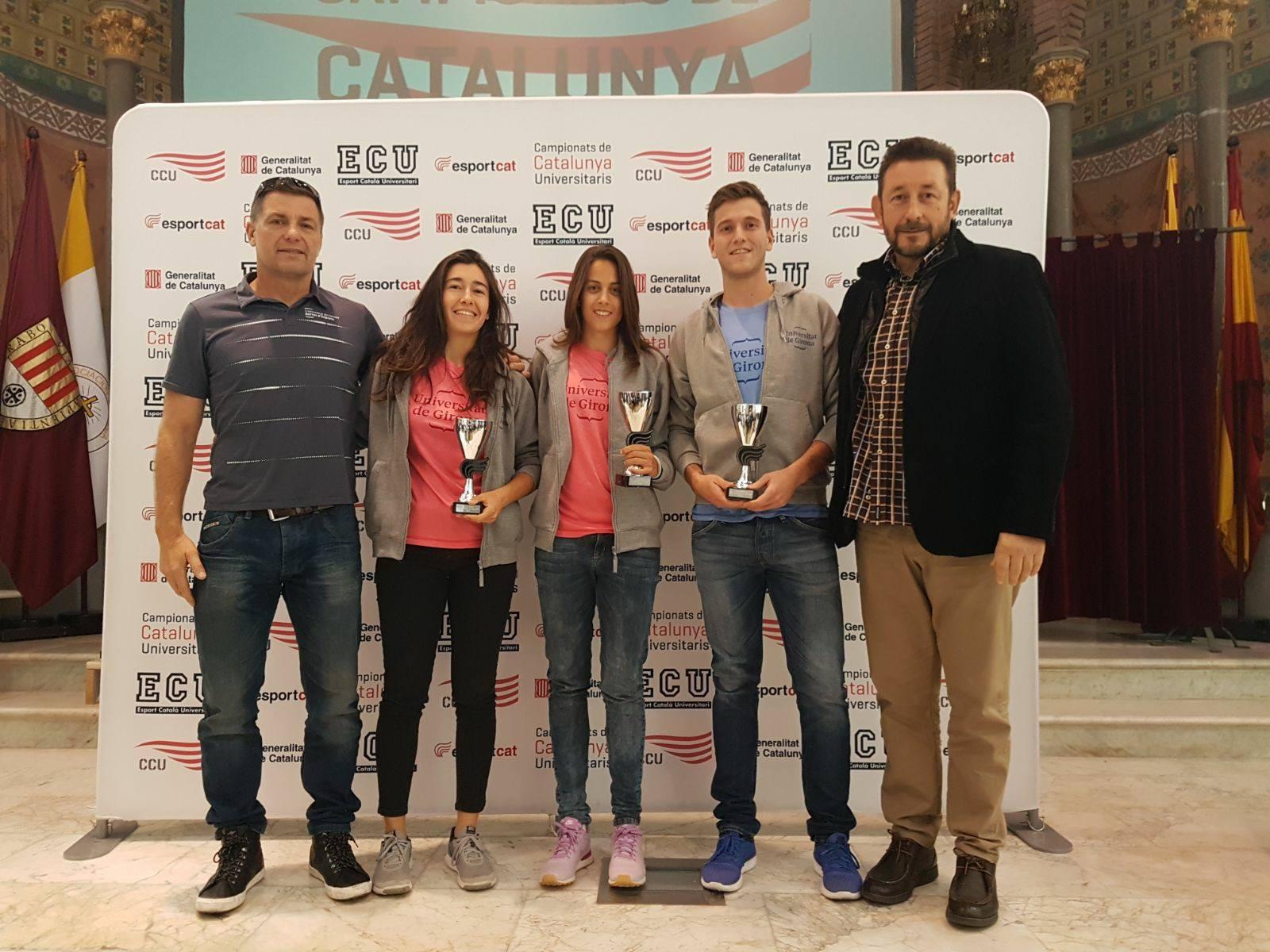 Els estudiants d'EUSES Anna Jódar, Àfrica Félez i Sergi Grabalosa, escollits millors esportistes universitaris de Catalunya 2017 de la UdG