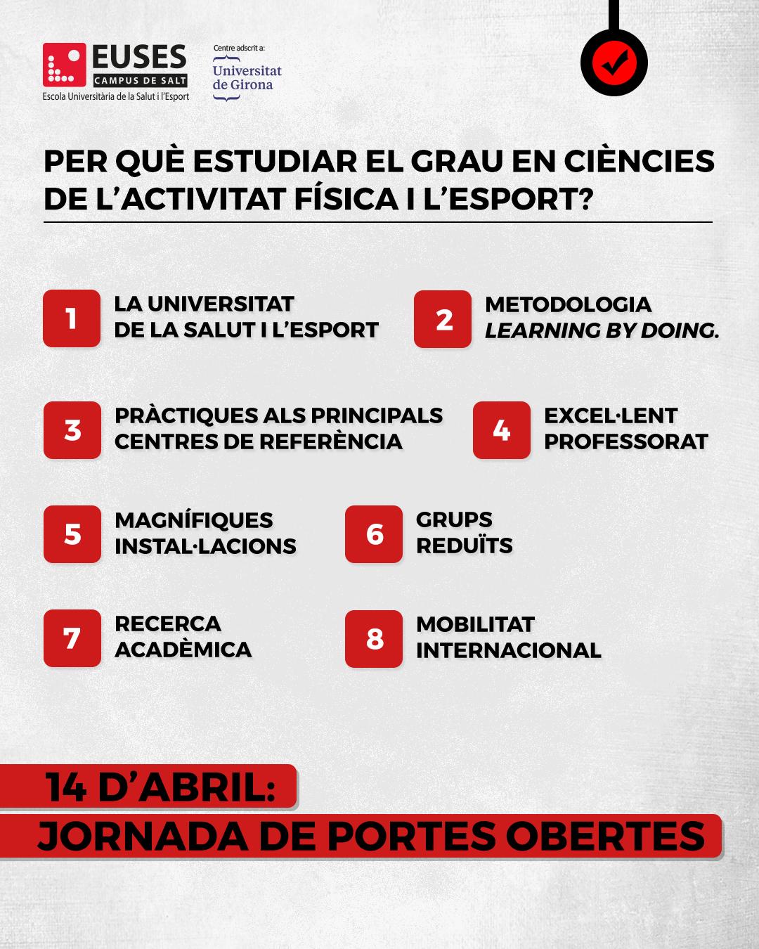 Per què estudiar el Grau en Ciències de l'Activitat Física i l'Esport? Vine a les Jornades de Portes Obertes el 14 d'abril a Salt (Girona)
