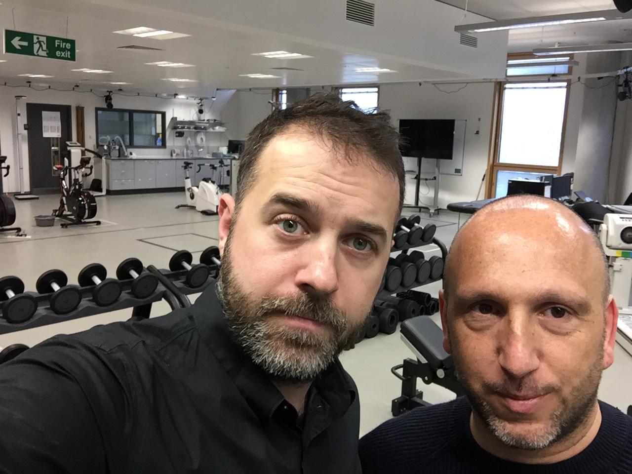 El professor d'EUSES Marc Madruga, responsable de la línia de recerca de rendiment i prevenció de lesions, visita les univeristats de Suffolk i Middlesex