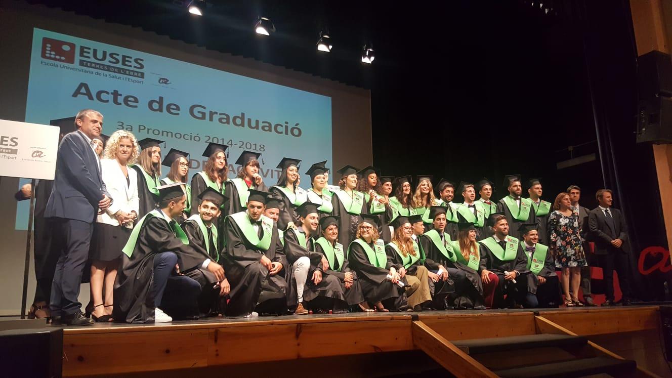 Acte de graduació a Tortosa de la promoció 2014/18 dels graus en Fisioteràpia i en Ciències de l'Activitat Física i l'Esport d'EUSES Terres de l'Ebre