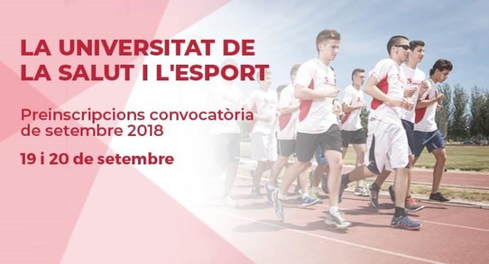 Demà comença la convocatòria de setembre. Estudia a EUSES, la Universitat de la Salut i l'Esport